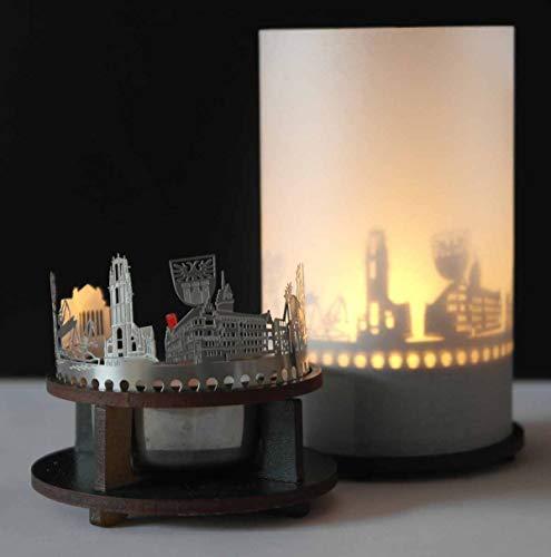 13gramm Duisburg-Skyline Windlicht Schattenspiel Premium Geschenk-Box Souvenir, inkl. Kerzenhalter, Kerze, Projektionsschirm und Teelicht