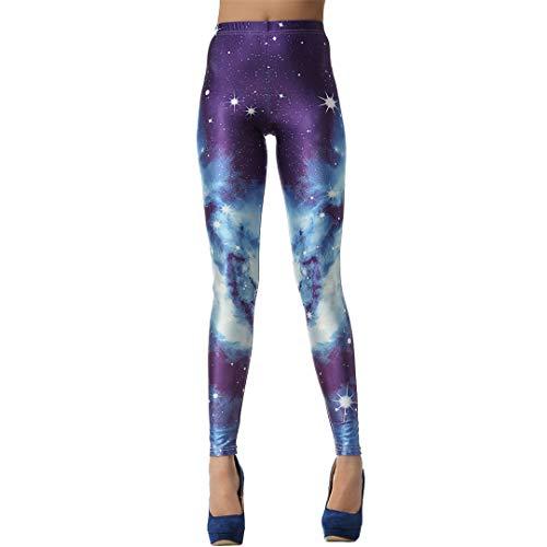 Negro Digital 3D Blanca Galaxy Legins Atractivo Delgado Ocasional Leggins Pantalones Impresos Polainas de Las Mujeres B L