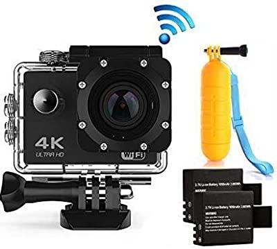 Action Cam 4K WiFi Waterproof Sports Diving Cam DV Camcorder 16MP 170 Degree Wide-Angle Len with Sensor 2 Rechargeable Batteries/Floating Hand Grip and Accessories Kit by HLS