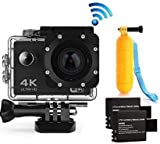 Action Cam 4K WiFi Waterproof Sports Diving Cam DV Camcorder 16MP 170 Degree Wide-Angle Len with Sensor 2 Rechargeable Batteries/Floating Hand Grip and Accessories Kit