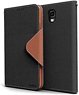 Black / Brown Samsung Galaxy Note 3 Wallet Case; Best Design with Coolest Premium [PU/Faux Leather] with Stand Feature and Magnetic Flap Closure; Functional Fashion Slim Wallet Case Cover for Galaxy Note 3 (Release Date); Supports Samsung Note 3 Devices From Verizon, AT&T, Sprint, and T-Mobile …