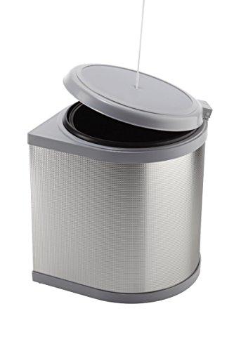 ELLETIPI Ring PPI606/1ALL   Cubo de Basura automático de Puerta, de plástico y Aluminio, Color Gris, 27 x 27 x 32 cm