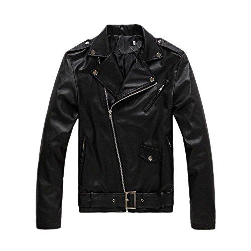 Fashion maker(F&M)レザージャケット メンズ PUレザー ジャケット ライダースジャケット 長袖ジャケット フェイクレザー アウター コート 大きサイズ シンプル (XL, ブラック)