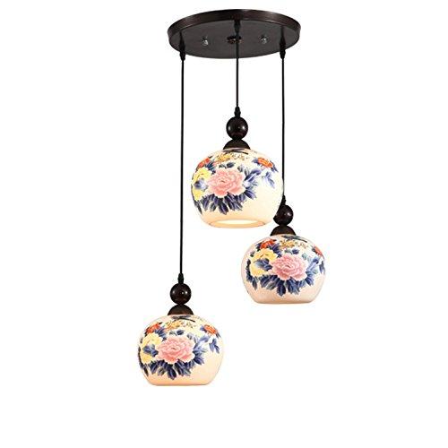 Maniny Lámpara de cerámica de 3 Cabezales, Lámpara de Techo de cerámica de Restaurante Creativo Lámparas de Colgante de Disco de Pintura Artesanal de Porcelana, a