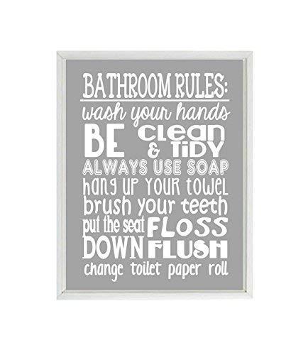 Amazon Com Bathroom Rules Wall Art Kids Bathroom Rules Wash Your Hands Child Bathroom Bathroom Sign Home Decor Kids Bathroom Fun Bathroom Art Handmade