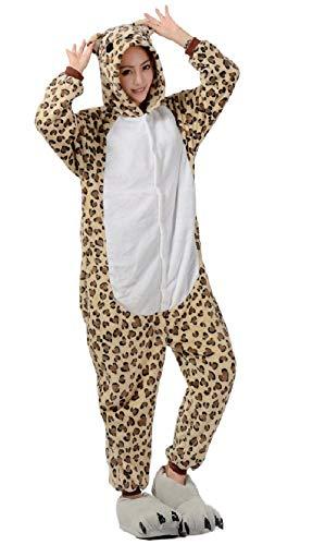 Ducomi Kigurumi Unisex Pijamas Adulto Cosplay Disfraz de Animal - Pijamas Disfraces Divertidos Peluche Halloween y Carnaval Mujer Hombre - Pijama Tuta Unicornio, Koala, Panda (Leopard, XL)