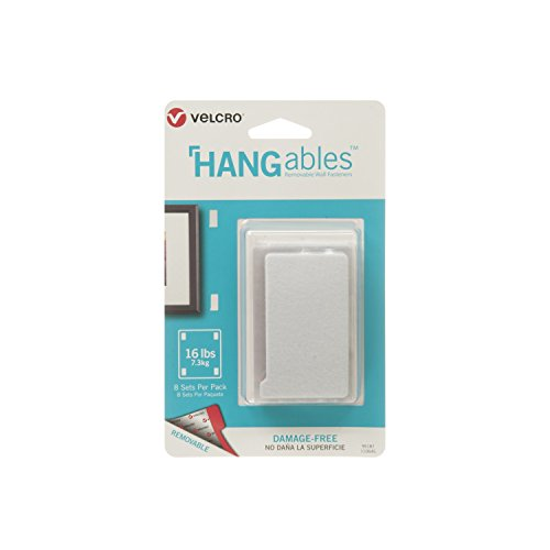 VELCRO Brand HANGables | Removable Wall Fasteners | Decorate Without Damaging Your Walls | Hang frames, Create Wall Collages | 8 Sets per Pack | Large Strips