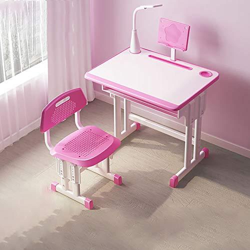 JW-LYYX Kinderschreibtisch und -Stuhl-Set, höhenverstellbare Kinder kombinierte Studientisch und Stuhlsatz, Schulstudent Schreibtisch mit Augenschutz,Rosa