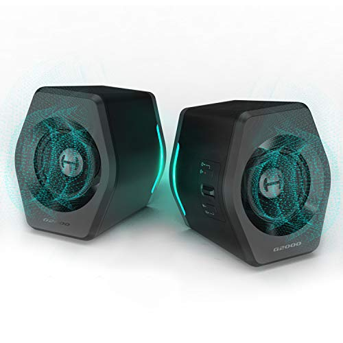 Edifier G2000 32W PC Computer Speakers for Desktop, Gaming, Laptop, Mac,Woofer Speakers Bluetooth, Bass Multimedia Speakers RGB Lights, USB 3.5mm AUX inputs,Black