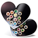 Impresionante 2 pegatinas de corazón de 7,5 cm – Lápices de colores para la escuela, diseño artístico, divertido calcomanías para portátiles, tabletas, equipaje, libros de chatarras, neveras, regalo genial #16164