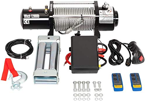 TRIBLE SIX 12000 lb Load Capacity Electric Winch 12V with Remote for Truck SUV ATV Trailer Waterproof