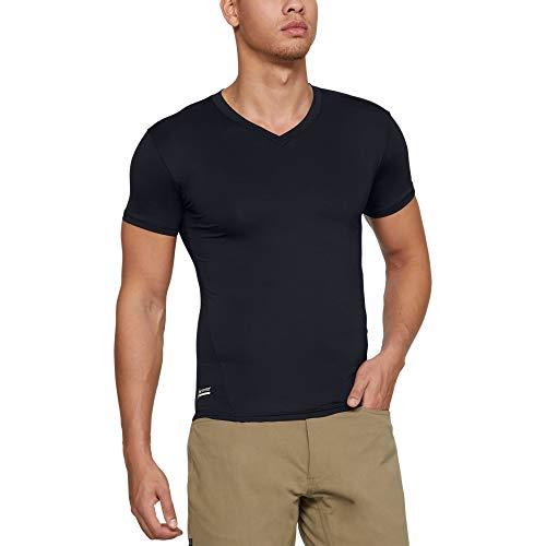 Under Armour Men's HeatGear Tactical V-Neck Compression Short-Sleeve T-Shirt , Black (001)/Clear , Large