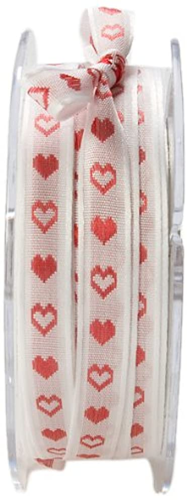 May Arts 3/8-Inch Wide Ribbon, White and Red Hearts