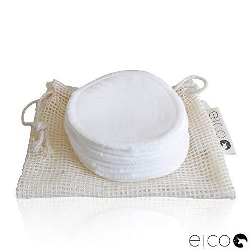 eico Makeup Entferner Pads - 12er Abschminkpads Set – Reinigungspads aus Bambus waschbar und wiederverwendbar – Zero Waste Wattepad Alternative – Mit Wäschenetz