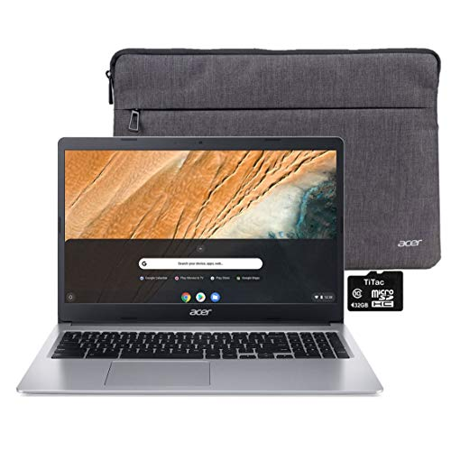 "2021 Acer Chromebook 315 Laptop Computer 15.6"" HD Display Intel Celeron N4000 Processor(Up to 2.6GHz) 4GB RAM 32GB eMMC Webcam BT USB Type C Chrome OS + TiTac MicroSD Card"