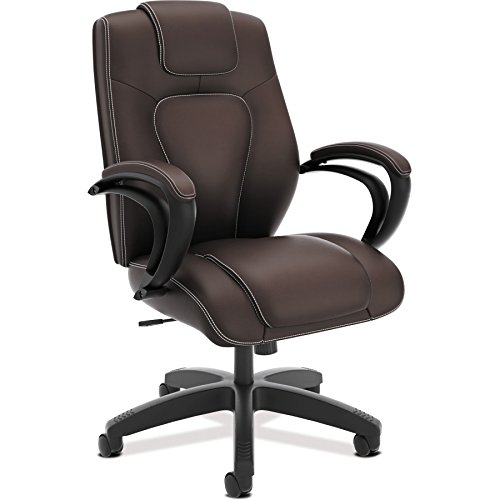 HON Managerial Office Chair- High-Back Computer Desk Chair with Loop Arms, Brown (VL402)