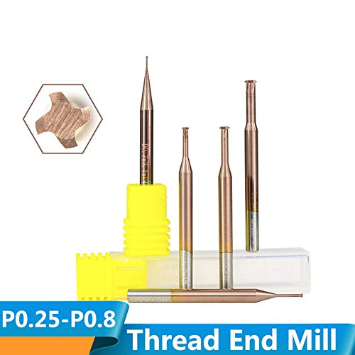 CHENWN 1Pc Ticn Beschichtung Gewindefräser P0.25-P0.8 Einzelgewindefräser Hartmetall-Fräser,P0.8*D3.9*D4*12 * 50L