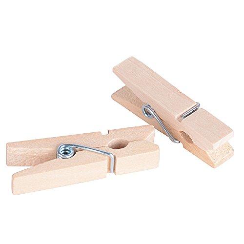AONER 100 STK Mini Holzklammern Klammern Holz Deko Klein Wäscheklammern Dekoklammern Holzwäscheklammern Zierklammern (Naturholzfarbe)