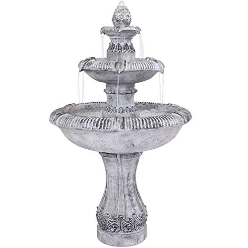 Sunnydaze 3-Tier Outdoor Water Fountain - Mediterranean Design - Glass Fiber Reinforced Concrete Construction - Gray - 50-Inch Tall - Loud Water Feature for Patio, Garden, or Yard
