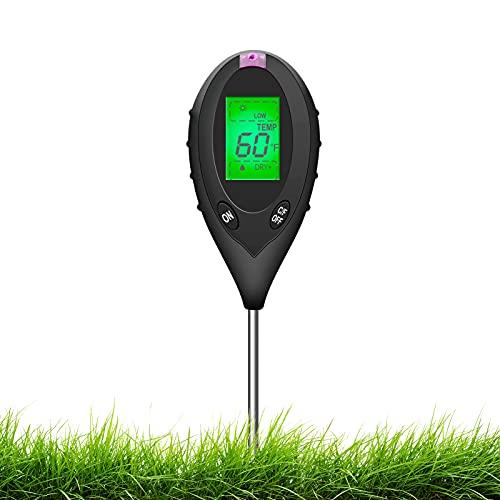Sonkir Boden-pH-Meter, 4-in-1-Bodenfeuchtigkeits-/Licht-/pH-/Temperaturprüfer Garten-Werkzeugsätze für die Pflanzenpflege, idealer Bodenmesser für Garten, Rasen, Batterie...