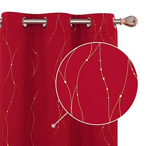 Deconovo Red Blackout Curtains and Drapes Wave Line with Dots Gold Printed Window Treatment Sets Curtains for Bedroom 42 x 45 Inch Red 2 Panels