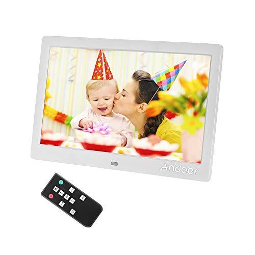 Andoer IPS Cornice Digitale 10.1 pollici Calendario Orologio Sveglia Digitale con 2.4G Telecomando Ultrasensibile, 1024*600 Risoluzione TFT-LED schermo,Calendario Orologio Sveglia Music Video (Bianco)
