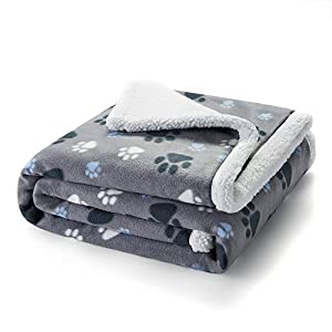 Puppy King Waterproof Pet Blanket, Machine Washable Liquid Pee Proof Blanket for Couch Sofa Bed, Durable 3 Layer Blanket Protector Cover for Small Medium Large Dogs Cats, 60×50 inches, Grey