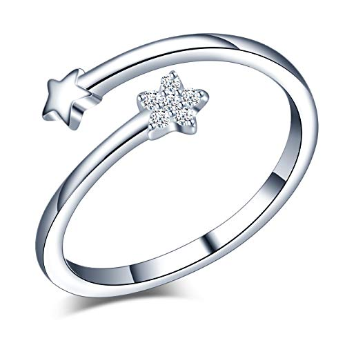 Yumilok Anillo de plata de ley 925 para mujer, anillo abierto de estrella fugaz, incrustaciones de circón, tamaño ajustable, regalo de cumpleaños de Navidad, tamaño: 49-57