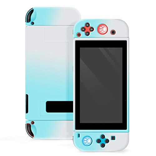 Funda protectora para Nintendo Switch, funda separable Joycon funda rígida de color protectora Nintendo Switch, accesorios de juego (azul y blanco)
