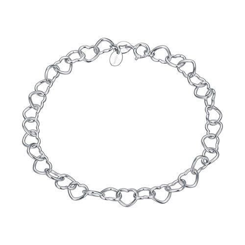 Adabele 925 Sterling Silver 6.6mm Heart Link 7' 7.5' 8 Inch Bracelet for Women Girls Birthday Gift - Made in Italy Nickel Free
