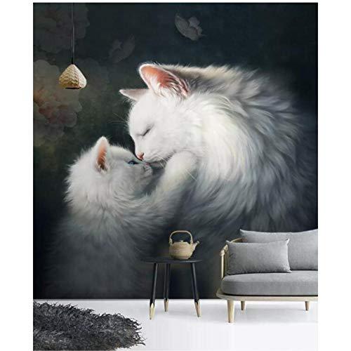 Mrlwy Europäische Art hd Babyliebes-Katzenportal 3D Hintergrundwanddekoration-Tapetenwandbilder-400X280cm