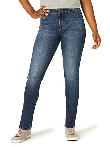 Lee Women's Slim Fit Skinny Leg Midrise Jean, Lagoon Blue, 16 Short