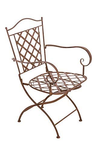 CLP Eisenstuhl Adara im Jugendstil I Outdoor-Stuhl mit Armlehnen I Handgefertigter Gartenstuhl aus Eisen I erhältlich, Farbe:antik braun