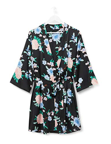 Iris & Lilly Bata Kimono de Algodón Mujer, Multicolor (Black Tropical), XS, Label: XS
