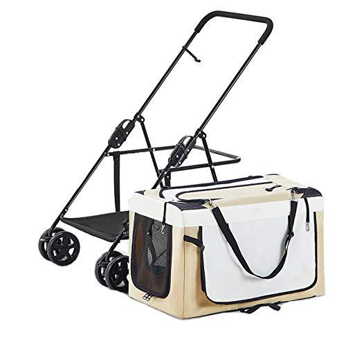 Cochecito de perro, bolsa de automóviles separada, 4 ruedas Cochecito de animales transpirable con ventanas Airy Techo solar, para pequeños perros medianos Gatos Viajes de viaje Camping hasta 20kg