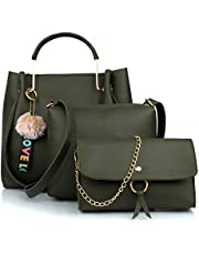 Mammon Women's Handbag With Sling Bag & Clutch (Set of 3) (3LR-bib-Green-Tie_Green)