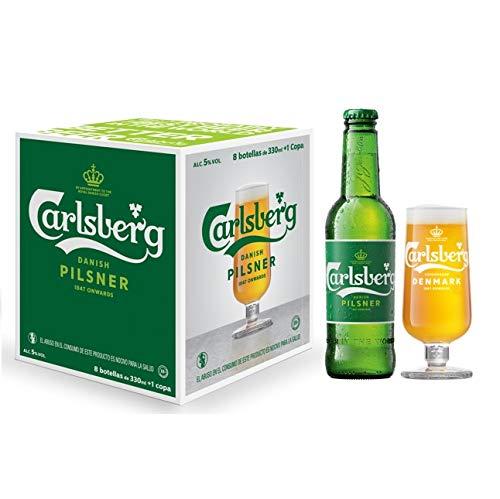 Cerveza Importada Premium Carlsberg 8 botellas de 330ml c/u + Copa