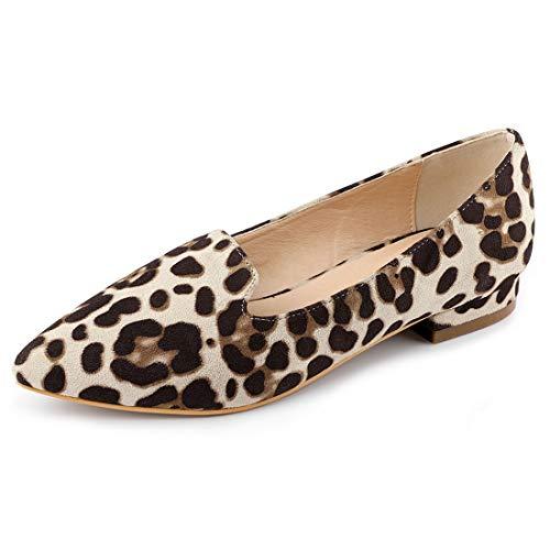 Allegra K Damen Hausschuhe gepolsterte Einlegesohle Spitzkopf Loafer Ballerina Leopard 36