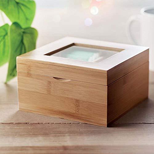 Caja de Té Tisana en Madera de Bambú con Tapa de Cristal...