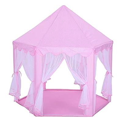Digood Princess Tent Large Castle Children Indoor and Outdoor Games Children Play Tent Pink