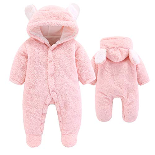 VNVNE Newborn Baby Cartoon Bear Snowsuit Warm Fleece Hooded Romper Jumpsuit (0-3 M, Pink)