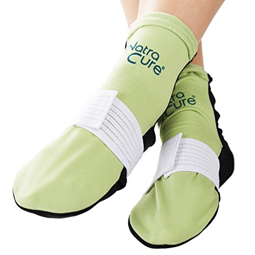 NatraCure Cold Therapy Socks (w/Compression Strap) - Reusable Ice Pack Arch Support Slippers, Plantar Fasciitis Relief - (Aid for Broken Foot, Heels, Pain, Swelling) - (Size: Large)