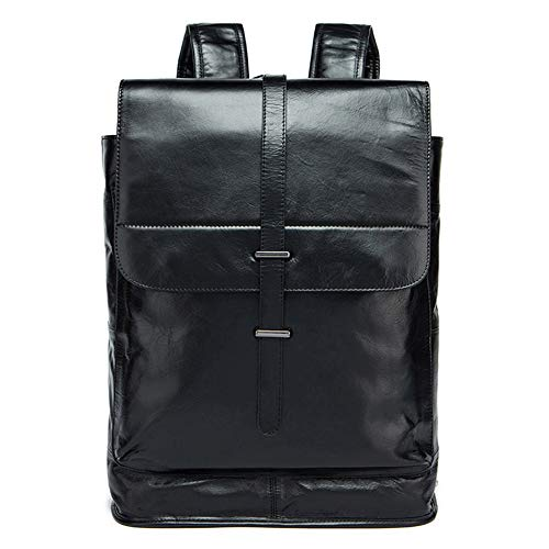 Vintage Men's Leather Backpack Travel Business Rucksack Leather Backpack Waterproof School Bag for Laptop, Colour, black-Onesize