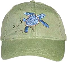 Loggerhead Sea Turtle Embroidered Cotton Cap Green