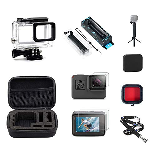 InBestOne Accessories Kit for GoPro Hero 7(Black)/6/5/ HD (2018) with Waterproof Housing Case+Travel Case Small+ 3 Way Grip Selfie Stick + Neck Strap Lanyard+ Screen Protector +Red Filter +Lens Cover