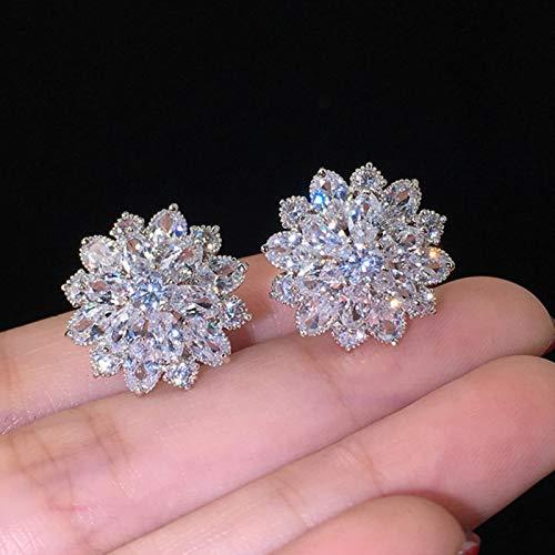 AQUALITYS Fashion Luxury 925 Sterling Silver Zircon Stud Earing Earrings for Women gift jewelry Best Black Friday-E5614