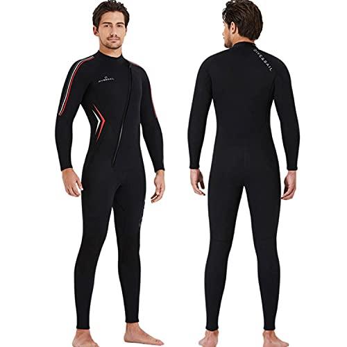 Traje de neopreno para hombre Traje de buceo de neopreno de 3 mm con cremallera frontal, cuerpo completo, mangas largas, grueso, cálido, surf, buceo, traje húmedo de una pieza para bucear