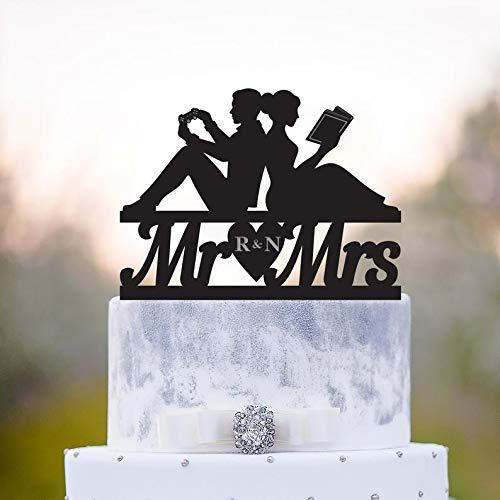 Cake topper,Reading wedding topper,book cake topper, Gamer wedding book lover topper,video game wedding cake topper,Personalized Cake Decor,Gift