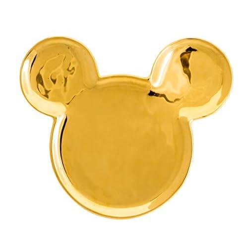 Joy Toy Mickey Mouse Deluxe Piatto in Ceramica Dorata A Forma di Topolino, Oro