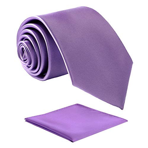 Fortunatever Classical Men's Handmade Extra Long Necktie,Lavender Purple Tie With Pocket Square+Gift Box